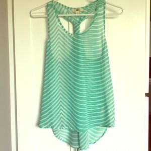 Teal and white sheer tank